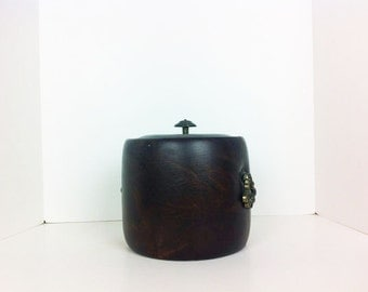 Vintage Brown Faux Leather Ice Bucket 1960s