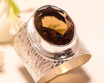 Smoky Topaz Faceted Oval Ring in Size 8 Set in Hammered Sterling Silver -Stunning Free Shipping & Gift Bag in the USA - November Birthstone