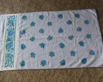 Vintage Light Blue Floral Print Bath Towel By Cannon,  All Cotton Towel