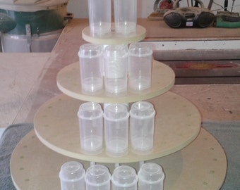 4 Tier Round Stand For Push Pops. Unfinished. Holds 68 Push Pops.