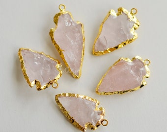 Gold Electroplated Rose Quartz Arrowhead Pendant, Gold Dipped Arrowhead, Rose Quartz Arrowhead Pendant, Bohemian Pendant