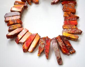 Large Aqua Terra Jasper Top Drilled Beads, Orange Jasper, Yellow Jasper, Point Beads, 1/2 Strand