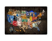 "USA license plate map all 50 states, 36"" X 24"" vintage wall art, license plate art, garage decor,"