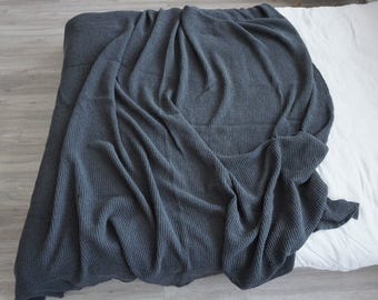 Linen Blanket  Heavy Antracit Waffle Weaving Stonewashed Linen Throw/ Bed cover/ Linen Blanket. Big size