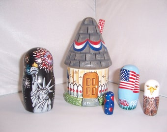 Hand painted Patriotic House stacking nesting doll set