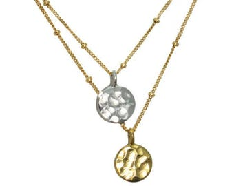 20% off. Dangling Karats. Sun and Moon necklace. Hammered disks with gold fill or sterling silver chains. mixed metals