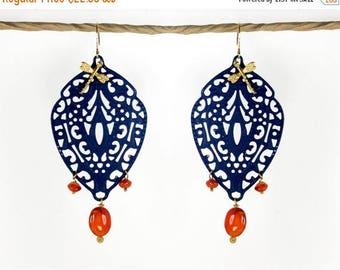 20% off. Moroccan earrings, Chandelier filigree earrings. orange and blue earrings, Indie jewelry, carnelian earrings. Boho earring
