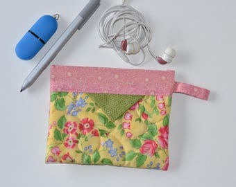 Jewellery Pouch, Patchwork Quilted Snap Bag, Cotton Cosmetic Pouch