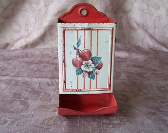 Vintage red and white metal kitchen match holder.  C2-461-2.