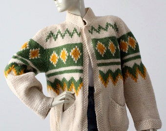 vintage chunky knit cardigan, fair isle style open sweater