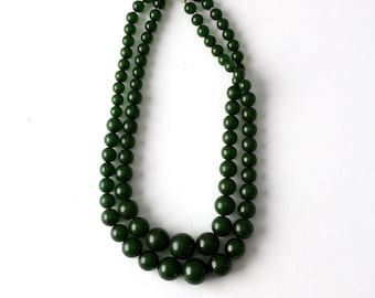 green two strand necklace, vintage beaded multi strand necklace