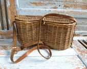 Beautiful Old fly fishing basket from French Alps 1930s