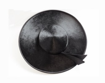 1950s MINT Black Fur Saucer / Platter hat by Phil Strann of California / Breakfast at Tiffanys / Museum Quality