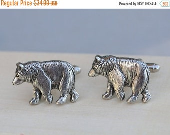 ON SALE Bear Cufflinks Silver Plated Metal Vintage Inspired Style Antiqued Finish Men's Cuff Links & Accessories