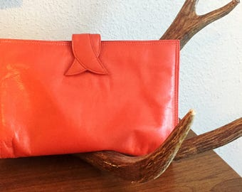 Vintage Orange Leather Clutch womens everyday bag handbags bags and purses leather bag leather everyday bag
