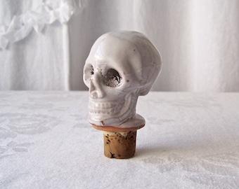 Vintage Skull Bottle Stopper Ceramic & Cork Bottle Stopper  Barware Man Cave 1990s