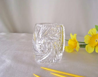 Vintage Toothpick Holder Leaded Crystal Glass Toothpick Holder Dining Table Entertaining Hor dourves Holiday Dining Vintage 1960s