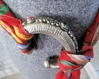 AfghanistanTribal Bangle Recycled as Buckle on Silk Sash Scarf Belt