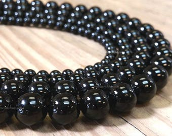 Wholesale Full Strand Natural Black Onyx Smooth Round 4 , 6 , 8 , 10 or 12 mm Gemstone Beads (G4835N-S,Q5)
