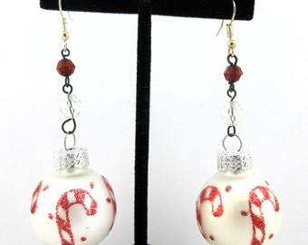 Christmas Ball Glass Ornament Earrings White/Red Candy Cane