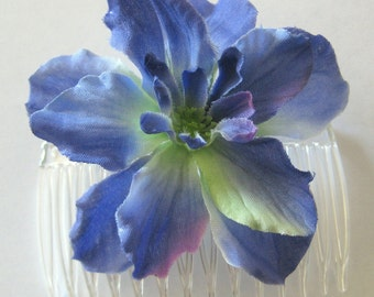 "2.75"" Periwinkle Blue Apple Blossom Silk Flower Hair Comb"