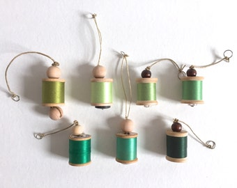 Green Sewing Ornaments - Vintage Thread on Wooden Spool