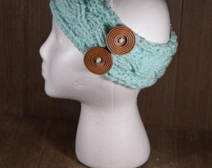 Cable Stitch Crochet Ear Warmer Headband - Minty