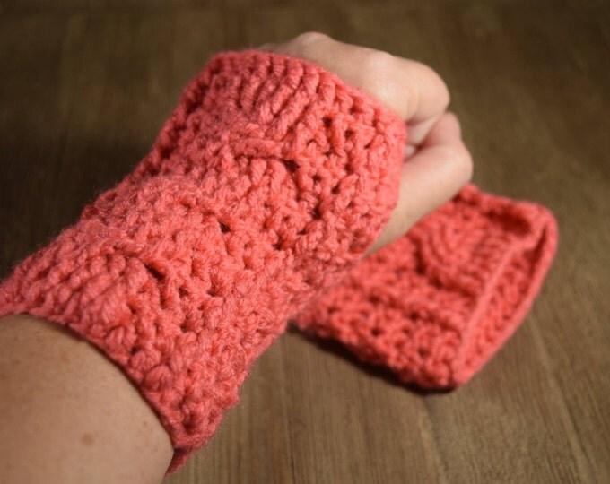 Cable Stitch Crochet Wrist Warmer Fingerless Gloves - Papaya