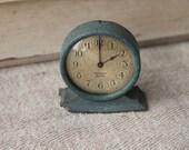 Westclox Tiny Tim clock - blue - 1920s - crackled finish