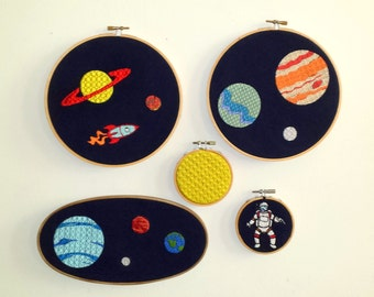 Outer Space Embroidered Solar System & Astronaut Set