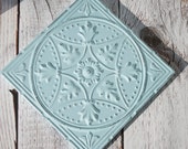 """14"""" Square Tin Ceiling Tile Creamy Chippy Shabby Victorian Framed Wall Hanging Blue Aqua Pale Turquoise"""