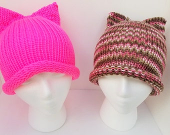 Knit Pink Pussycat Hat, Kitty Cat Hat, Cat Ears Hat - Assorted Colors