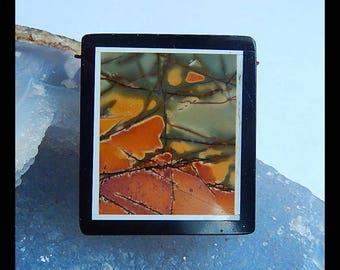 Multi-Color Picasso Jasper With Black Stone Intarsia Gemstone Pendant Bead,42x37x6mm,24.1g(b0937)