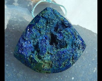 Drusy Geode Blue Azurite Gemstone Pendant Bead,36x33x16mm,33.45g(e0928)