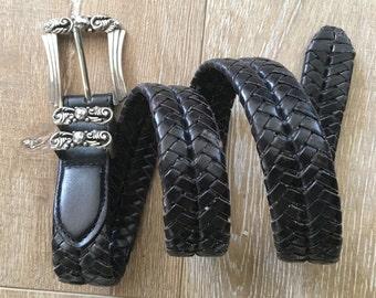Brighton Leather Black Woven Western Womens Belt 30