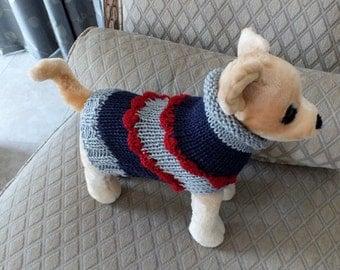 """Dog Sweater Hand Knit  xxsmall  Toy Chihuahua 10"""" long wool"""