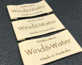 100 cotton label, cotton clothing labels, printed cotton label, fabric labels