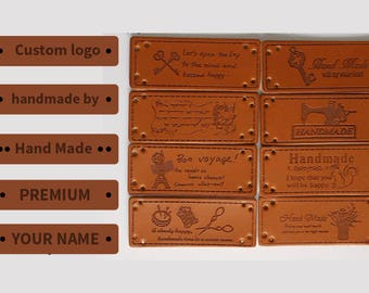 100 leather label, Personalized leather labels, Leather labels, leather labels for knits, leather labels personalized