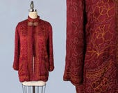 1940s Jacket / AMAZING Wine Satin Soutache Late30s / Early 40s Jacket!