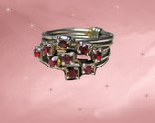 Vintage Stackable Rings - 1960s Stacking Ruby Rhinestone Rings - Ruby Rhinestones - Vintage Stacked Rings - 60s Stack Ring Set -Gift for Her
