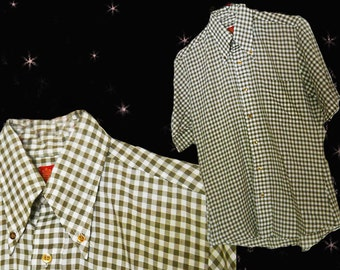 """Men's 60s Vintage Short Sleeve Shirt - Retro Tapered Button Down Olive Green Gingham Shirt - 1960s Polyester - 44"""" Chest"""
