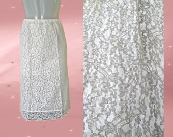 50s White Lace Half Slip - Vintage Van Raalte - XTRA SPECIAL Nylon Lace Pencil Skirt - White Half Slip - Sheer Vintage Slip - Small Size