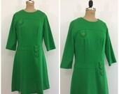 Vintage 1960s Knit Green Dress 60s Mod Scooter Dress