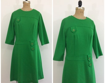 Vintage 1960s Knit Green Dress 60s Mod Scooter Dress