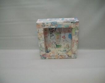 Handmade Paper Mache Shadow Box, Mix Media Art Supplies, Medium Size Shadow Box, Mix Media Collage Art Supply, Mix Media Canvas Art,