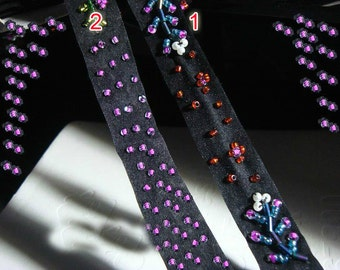 """10 meter 1.8cm 0.7"""" wide velvet beads fabric embroidery lace trim ribbon tapes W50S43X127C free ship"""