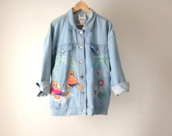 vintage JEAN JACKET embroidered BEAR beach max/relax faded denim coat