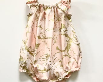 Pink and Gold Marbel Romper