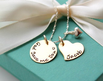 God Gave Me You Necklace - Personalized Moms Necklace - Hand Stamped Necklace - Couples Necklace - Childrens Name Jewelry - Custom Jewelry -