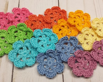 Rainbow of Crocheted Flowers, Small Crochet Flower Appliques, 1.5 inch Posies